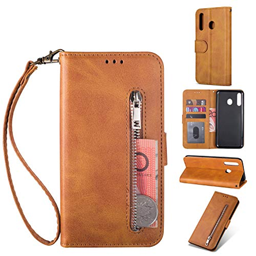 ZTOFERA Samsung Galaxy A40 Handyhülle Schutzhülle Leder PU Wallet Lederhülle Klapphülle Kartenfach Standfunktion Zipper Brieftasche Magnetisch Silikon Protective Hülle für Galaxy A40 - Braun