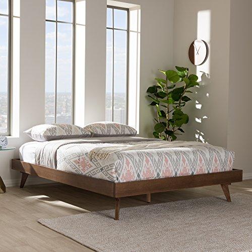 Baxton Studio Mid Century Modern Bed Frame in Walnut Finish (Full: 77.95 in. L x 56.69 in. W x 13.19 in. H)