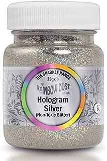 Rainbow Dust Non Toxic Cake Glitter Decoration Sparkle Range HOLOGRAM SILVER 35g