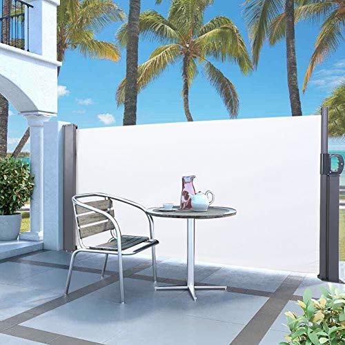 GOTOTOP - Cortinas de sol para exteriores, 300 x 120 cm, toldo lateral retráctil para jardín, balcón, patio, oficina (blanco)