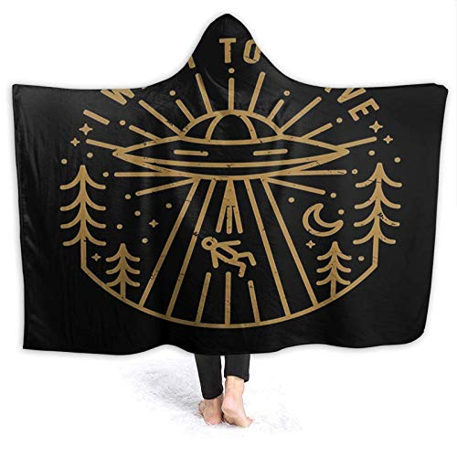 XCNGG Manta con Capucha Hooded Blanket Throw I Want to Leave Super Soft Sherpa Fleece Blanket Hood Poncho Cloak Cape