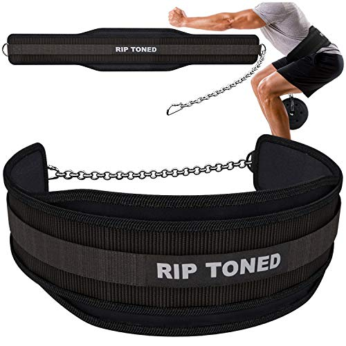 """Rip Toned Dip Belt with Chain for Weightlifting, Pull Ups, Dips - 36"""" Heavy Duty Steel Chain - Weight Belt with Chain for Added Weight While Powerlifting, Bodybuilding, Strength Training"""