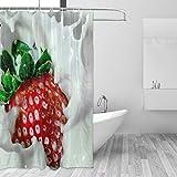 Ahomy Duschvorhang mit Erdbeer-Motiv, wasserdicht, schimmelresistent, 3D-Bedruckter Duschvorhang mit 12 Haken, Sichtschutz für Zuhause & Badezimmer, 183 x 183 cm