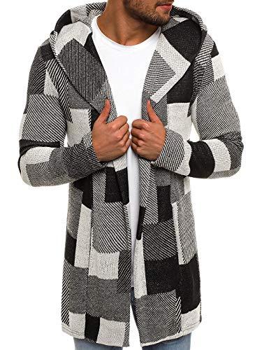 OZONEE Herren Pullover Lange Strickjacke Kapuzenpullover Strickpullover Arbeitspullover Sweater Sweatshirt 3501 XL GRAU