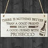 Red Oceanon c' è Niente di Meglio di Un Buon Amico Tranne a Good Friend con Prosecco novità in Legno da Appendere Gift Alcol Joke Sign