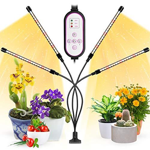 Pflanzenlampe Led, Garpsen 80 LEDs Grow Lampe, 4 Heads Vollspektrum Led Pflanzenlicht für Zimmerpflanzen mit Auto ON & Off Timer 4/8/12H, 3 Arten von Modus, 10 Lichtstärken(660nm/3000K/5000K)