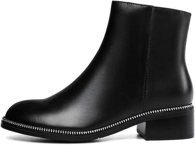 Yanyan Bottines pour Femmes en Cuir Bottines Chelsea, Chaussures à Talons épais, Bottes Martin Britanniques, Chaussures à Rivets, Chaussures décontractées
