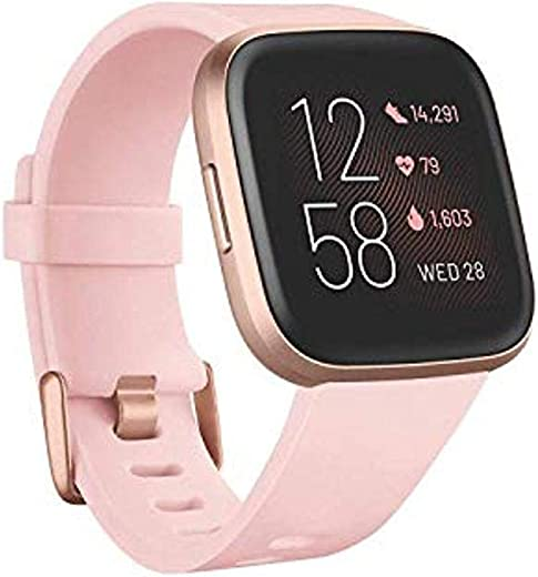 Fitbit FB507RGPK Versa 2 Health & Fitness Smartwatch with Heart Rate, Music, Alexa Built-in, Sleep & Swim Tracking, Petal/Copper Rose, One Size (S…