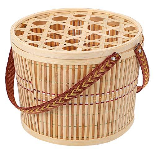 Cabilock Cesta de Picnic Tejida de Bambú Cesta de Mimbre Cesta de Regalo Cesta de Dulces Vacía Cesta de Vino Cesta de Recolección de Huevos con Tapa para Fiestas de Primavera