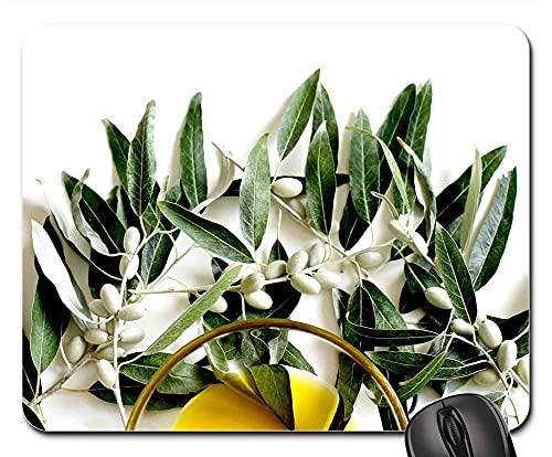 Mauspad Olivenöl Olivenöl Olive Leaf Plant Eat Oil Food Gaming Mausmatte Anti Rutsch Gummiunterseite Ultradünner Gaming Mousepad Multifunktionales Mausunterlage Für Laptop/Pc, 25X30 Cm