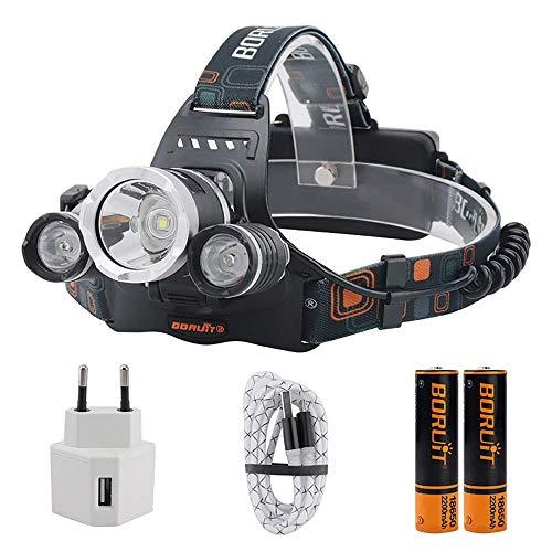 Linterna frontal USB recargable Super brillante 5000 lúmenes 4 modos de iluminación con 2 * 18650 batería y cargador adecuado para pesca,caza,carrera,senderismo