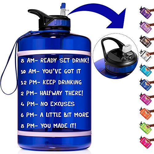 HydroMATE 1 Gallon Straw Motivational Water Bottle with Time Marker Large BPA Free Jug Handle Time Marked 5 Drink Marking Measures to Track Daily Water Intake One Gallon Hydro MATE (Gallon, Blue)