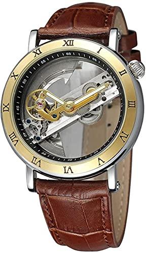 JZDH Mano Reloj Hombres mira Relojes de Pulsera Reloj automático mecánico Personalidad Personalidad Reloj Hueco Reloj de Acero Inoxidable Reloj Reloj Romano Reloj marrón Relojes Decorativos Casuales