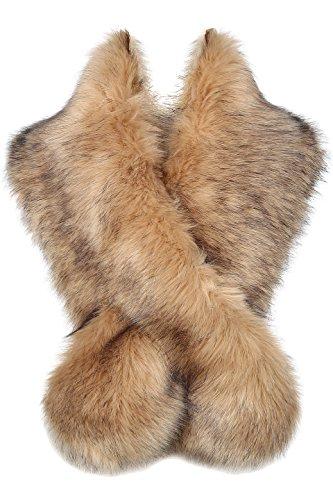 ArtiDeco Damen Kunst Pelz Schal Flauschig Faux Pelz Umschlagtuch Kragen für Wintermantel 1920er Jahre Flapper Accessoires Outfit Warm Zubehör 120 cm lang (Kamel)