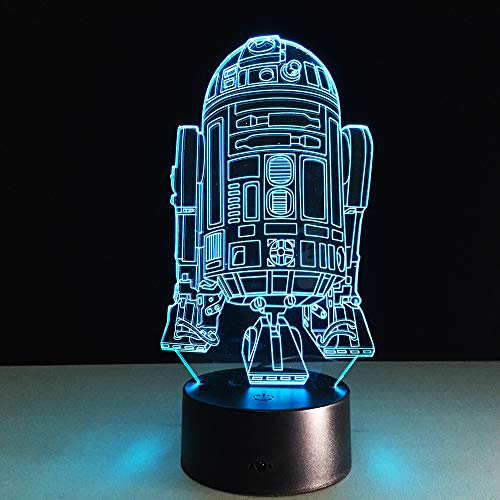 JINYI 3D Night Light Wars R2D2 Robot Lamp, LED Optical Illusion Lamp, E - Alarm Clock Base(7 Color), Acrylic Panel, Novelty Lamp, Lucky Gift, Bedroom Lamp, Party Gift