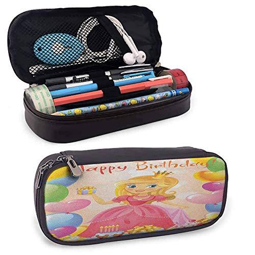 PU Leder Reißverschluss Beutel Geburtstagskind Nette Süße Prinzessin Themed Image Mit Herzen Und Luftballons Bild Halter Box