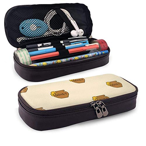 Topf Honig Leder Bleistift Etui Tasche Reißverschluss Pen Pencil Case Box Schulbedarf, große Kapazität Briefpapier Box