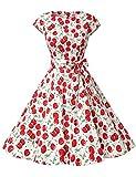 Dressystar DS1956 Robe à 'Audrey Hepburn' Classique Vintage 50's 60's Style à Mancheron Blanc à Cerise L