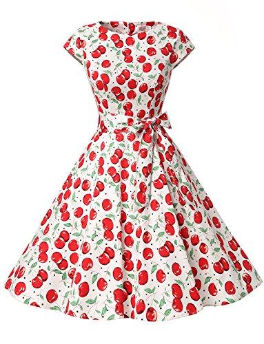 Dressystar Damen Vintage 51er Cap Sleeves Dot Einfarbig Rockabilly Swing Kleider Große Weiße Kirsche A XL