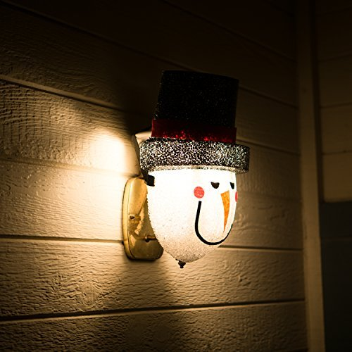 Snowman Porch Light Cover — Light up Your Night with a Glowing Welcome From This Frosty Fellow — Install Is Quick and Easy — Traditional Holiday Snowman Face — Cord Hides Behind Your Outdoor Porch Light — Made of Acrylic