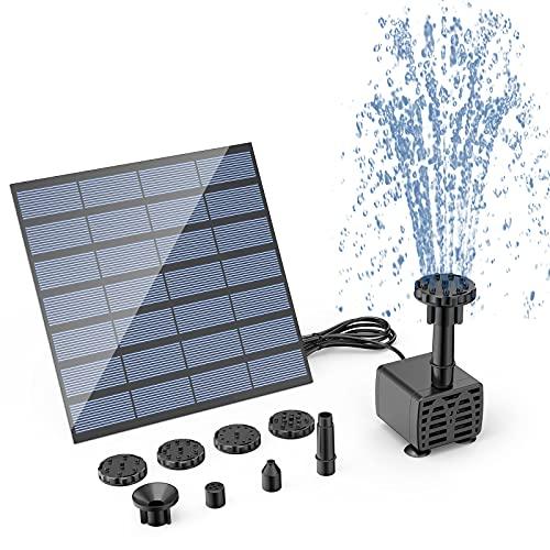 AISITIN DIY Founte Solar, Bomba de Fuente de Agua con Energía Solar con 6 Boquillas, Fuente de Agua para Bricolaje al aire Libre para Baño de Pájaros, Estanques, Jardín y Pecera
