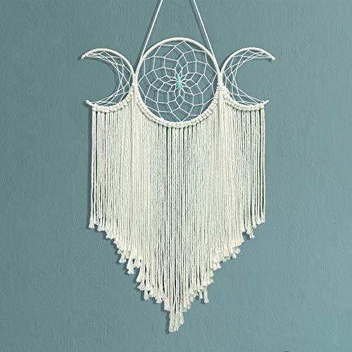 Triple Moon Goddess Macrame Woven Wall Hanging, Boho...