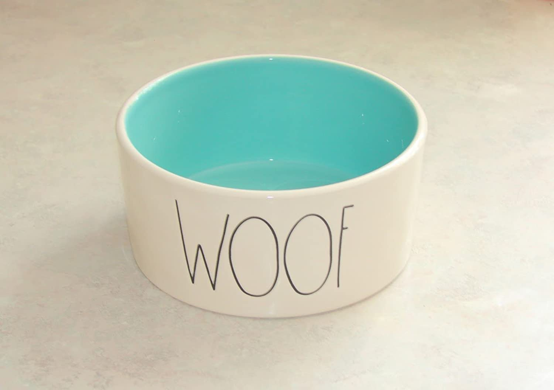 Rae Dunn WOOF Large 6  Ceramic Pet Bowl  blueeGreen Inside