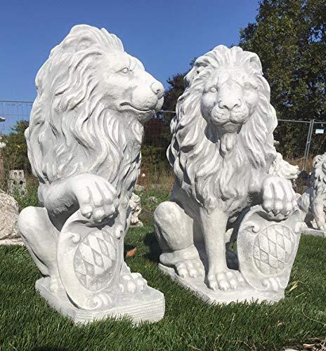 Löwen Paar mit Wappen 53cm hoch weiß Steinfigur Steinguss Löwe + inkl. original Pflegeanleitung von Steinfiguren Welt