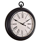 JHSHENGSHI Relojes, Relojes mecánicos de Madera Relojes, Relojes mecánicos de Madera Reloj de Bolsillo clásico Redondo silencioso sin tictac de 14 Pulgadas Reloj