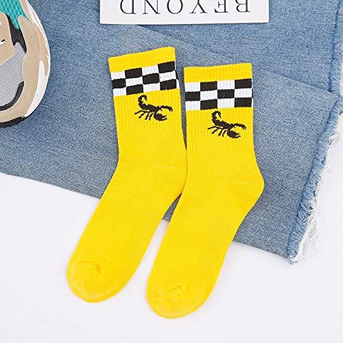 WYEKJ Herrensocken Ins Tide Socks Hohe Persönlichkeit Persönlichkeit Hip Hop Skateboard Herrenschlauch Baumwollnetz Rot Paar Skorpion - Gelb Durchschnittlicher Code