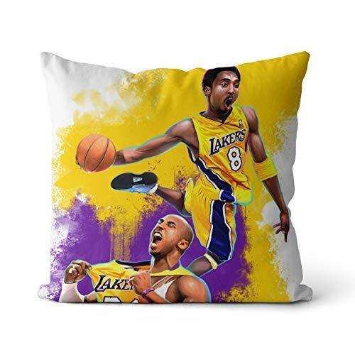 Kobe Bryant - Funda de cojín para el pelo, 45 x 45 cm, diseño de Los Ángeles a las cuatro relojes, Kobe Bryant por la mañana, para sofá, dormitorio, salón, decoración