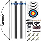 LXNQG Conjunto de tiro con arco de recebo 40 lbs, conjunto de aleación de aleación de aluminio desmontable, conjunto de flechas, caza con botiquín y arrow kit para la práctica de competencia de la man