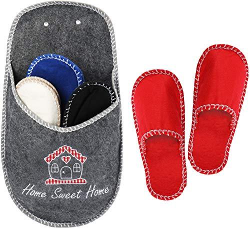 com-four® 4X Paar hochwertige Gäste-Pantoffeln im Set - Gäste-Hausschuhe in dekorativer Aufbewahrung - warme Filzschuhe für Kinder, Damen und Herren (5-teilig Set11)