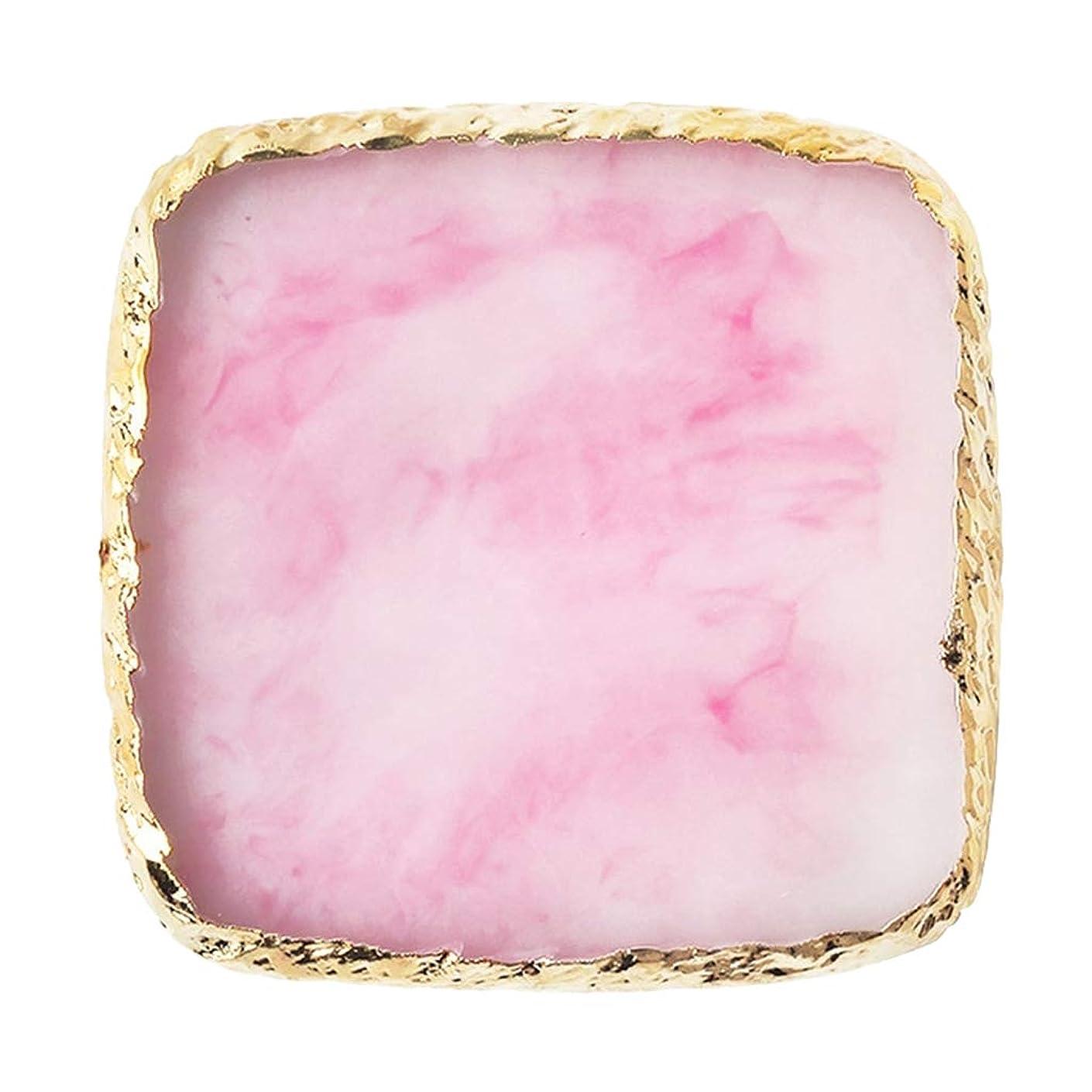 なぜホイッスル労働B Blesiya ネイルアート カラーブレンド ミキシングパレット ゴールドエッジ スクエア型 6色選べ - ピンク