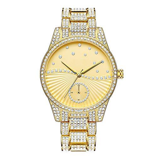 Relojes de Diamantes para Hombres Hip Hop Reloj de Banda de Metal de Piedra Completa Reloj de Pulsera de Acero Inoxidable Chapado en Oro Rosa Plateado Reloj Helado para Mujer