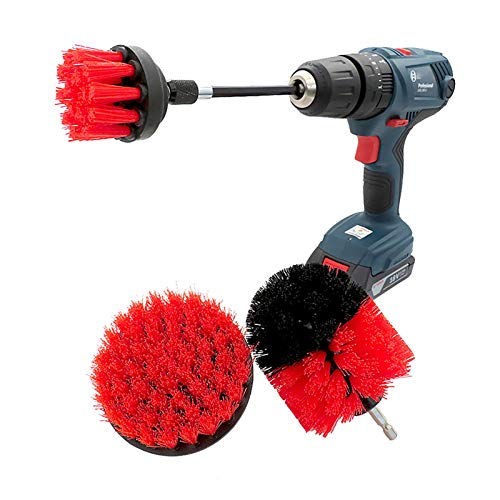 XMSIA Drill Power Brush Cleaning Tool 4 Piece Scrub Brush Power Drill Attachments Time Saving Kit Perfect for Cleaning Grout, Tile, Bathroom Attachment Kit for Scrubbing Cleaning