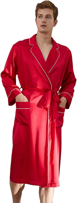 Men's silk robe pajamas 19 momme 100% soft mulberry silk luxury long