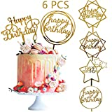 Efivs Arts 6 Pcs Acrylic Gold Happy Birthday cake Topper Glitter Cupcake Topper for Birthday Themed...