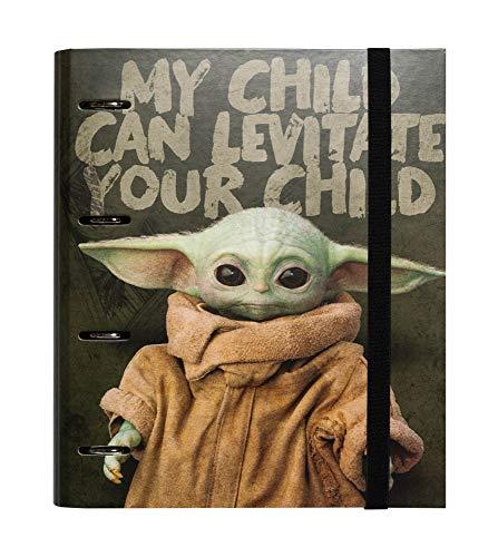 Erik® - Raccoglitore ad anelli A4 Star Wars Grogu the Child The Mandalorian con chiusura con fascia elastica per tenere al sicuro i tuoi appunti