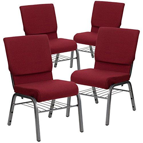 Flash Furniture 4 Pack HERCULES Series 18.5''W Church Chair in Burgundy Fabric with Book Rack - Silver Vein Frame