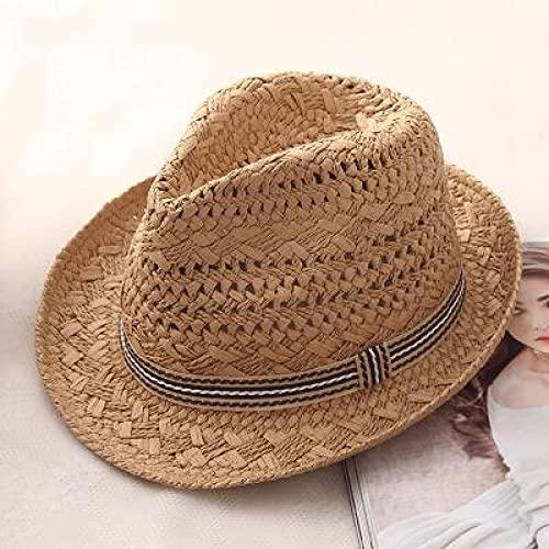 NJJX Moda Trabajo Hecho A Mano Mujeres Verano Rafia Paja Sombrero para El Sol Boho Beach Sombrero Fedora Sombrero para El Sol Trilby Hombres Sombrero De Panamá Gorra De Gángster 48-52Cm Caqui