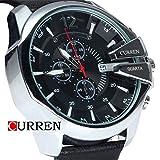 Curren orologio da uomo con cronografo e cinturino in pelle stravagante argento/nero