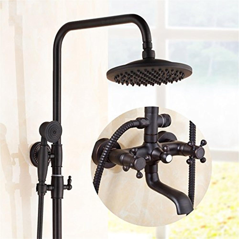 SMC Duschset Antikes schwarzes kupfernes europisches Art-Badezimmer-Toiletten-Aufzug-Abkühlen u. Heie Dusche stellte mit Handduschkopf ein (Farbe   C)
