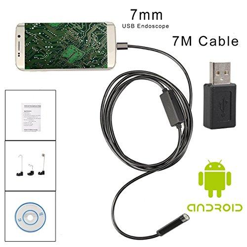 Flylinktech HD Endoskop USB Endoskopkamera 2MP Digitale Endoskop 8,5mm Kamerakopf mit 6 Einstellbare LED Inspektionskamera Rohr Boroskop Verbinden mit Smartphone oder PC schwarz (7M)