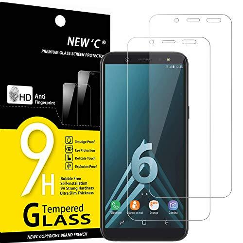 NEW'C 2 Stück, Schutzfolie Panzerglas für Samsung Galaxy A6, Frei von Kratzern, 9H Festigkeit, HD Bildschirmschutzfolie, 0.33mm Ultra-klar, Ultrawiderstandsfähig