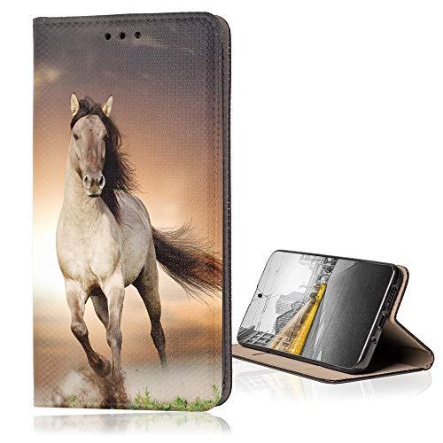 KX-Mobile Hülle für ZTE Blade A3 2020 Handyhülle Smart Magnet mit Motiv 1005 Pferd Hengst braun