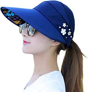 cici store Women Summer Sunshade Ponytail Open Top Hat,Wide Brim Visor Hat Foldable Adjustable Fishing Beach Cap(Navy)