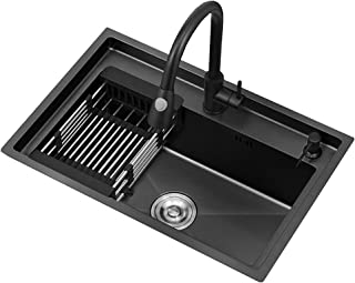 FANGFHOME Gootsteen Évier de Cuisine Évier carré en Acier Inoxydable Évier Simple avec Accessoire et Robinet pour Installa...