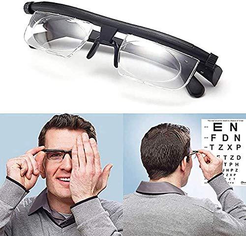Brille, Lesebrille, einstellbare Linsen von -6D bis + 3D Nicht verschreibungspflichtige Linsen für kurzsichtige und weitsichtige Lesebrillen, manuelle Fokussierung