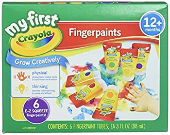 Crayola  My First Fingerpaint Kit  Art Tools  6 Different Colored Tubes of Paint  Washable